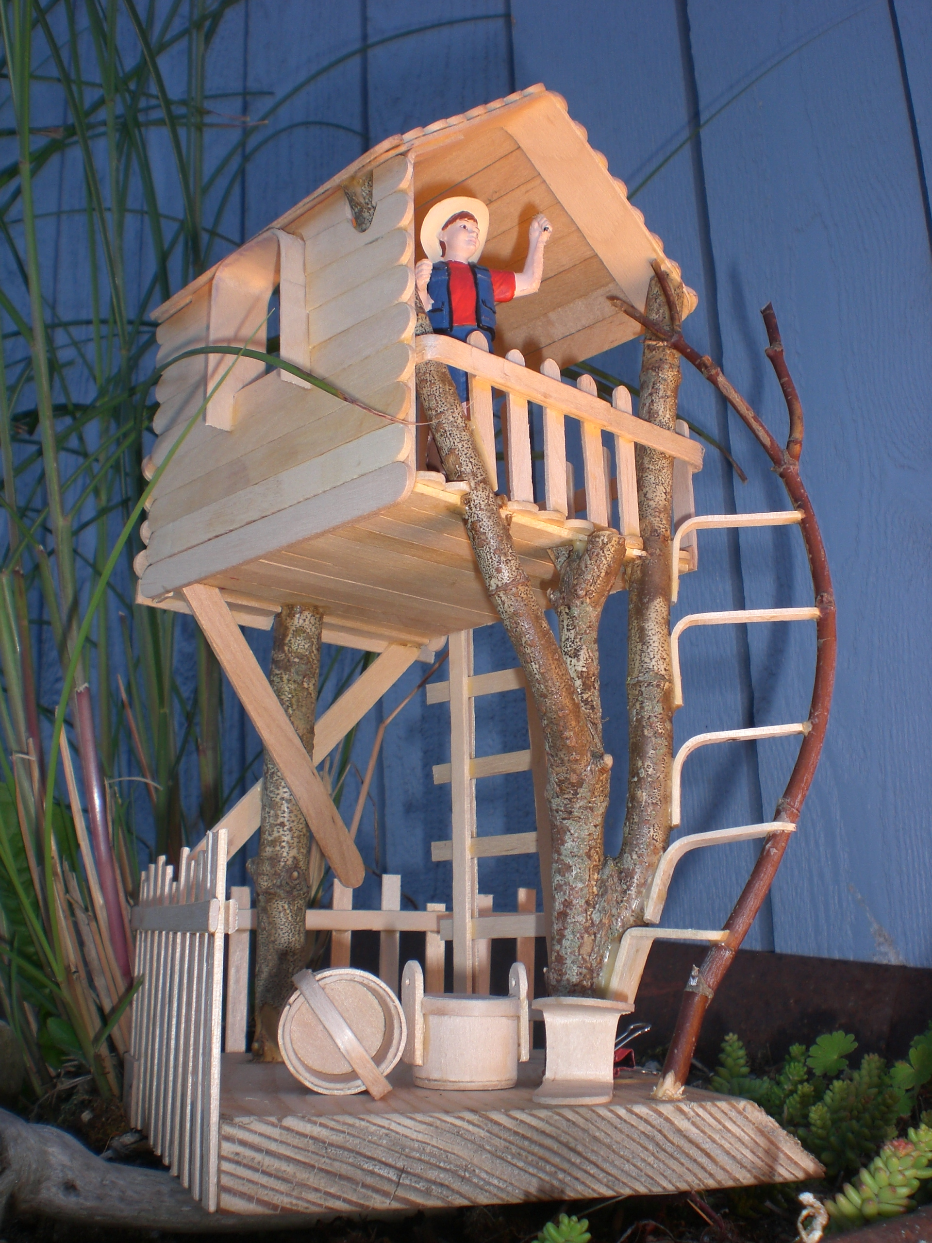 Craft stick branch tree house craft stick crafts for How to build a treehouse with sticks